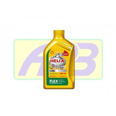 Óleo de Motor - Shell - Helix 15W-40   HX6 FLEX - Semi-Sintético - 1LT